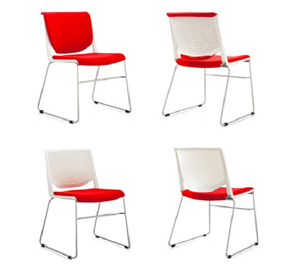 Soni Chair - White - Upholsteredf back and seat