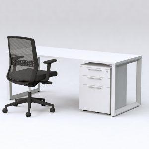 Monico Loop Desk with Workzone Mobile Pedestal