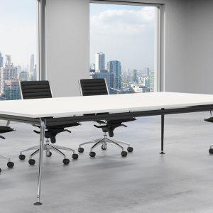 Profile Meeting Table White - Chrome Legs